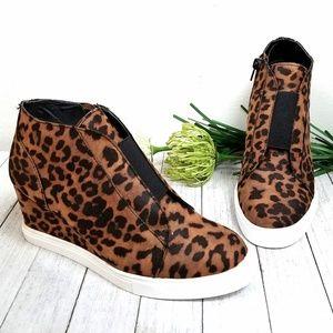 New Tan Leopard Platform Sneakers Booties